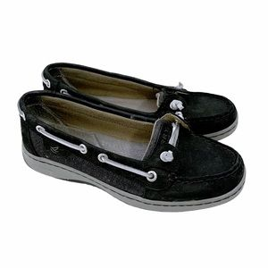 Sperry Black Gray Angelfish Slip On Boat Shoes